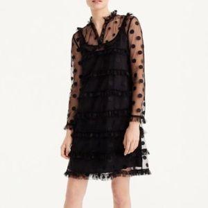 J. Crew Black Polka Dot Embroidered Tulle Dress